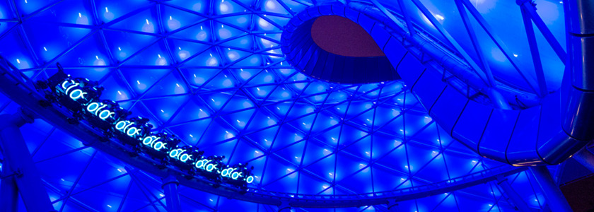 "The inspiring story of the Disney films ""TRON"" and ""TRON: Legacy"" become reality with the world premiere of TRON Lightcycle Power Run, a thrilling attraction in Tomorrowland at Shanghai Disneyland.  Riding atop individual, two-wheeled Lightcycles, guests are launched into a mysterious game world of lights, projection and sound effects. (Kent Phillips, photographer)"